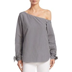 Theory Women's Gingham One Shoulder Top